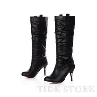 Sexy Black PU Upper Stiletto Heel Closed-Toe Knee High Women's Boots: tidestore.com