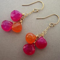 Orange And Pink Earrings, Gemstone .. on Luulla