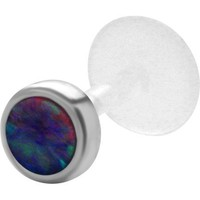Black/ Blue / Red / Green / AB Cabochon Sterling Silver & Bioplast Tragus Earring or Labret Lip Stud