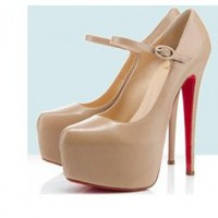 Wholesale 2012 new thin heel 14cm red bottom pumps Z0091 apricot - Lovely Fashion