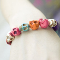 Skull Heads Elastic Bracelet Vintage Colorful Punk Charms Bangle LS101