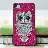 Rose retro vintage Silver Owl  Hard Case Cover Skin Shell For iPhone 4 4G 4S