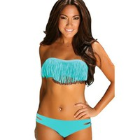 Intimates21 - Sexy Orange Strapless Bikini Top /W Tassel + Bottom Padded Bra Swimsuit Beachwear (M,