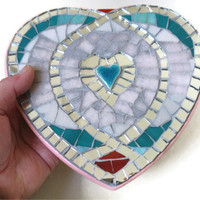 Valentine Heart Wall Hanging Mosaic Art Home Decoration Mirror Glass Pink Teal Red