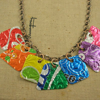 Recycled Soda Can Art  7 Pieces of 8 Necklace  by jillmccp on Etsy