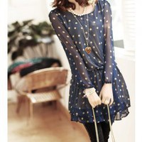 Exquisite Round Neckline Elastic Waist Dots Patterns Long Sleeves Chiffon Dress For Women China Wholesale - Sammydress.com