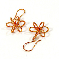 Copper Coiled Flower Earrings, Everyday Lightweight Earrings
