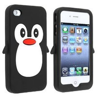 Amazon.com: Fosmon Penguin Design Soft Silicone Case for Apple iPhone 4 / 4S - Black: Cell Phones &amp; Accessories