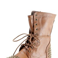 Breckelle's Georgia28 Tan Studded Lace Up Combat Boots and Shop Boots at MakeMeChic.com