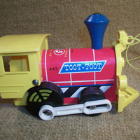 Toy Child Toddler Pull Toy Train Fisher Price Original Yellow Red Engine Wheels Play Imagination Creative Educational TKSPRINGTHINGS