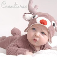Christmas Rudolf Reindeer Baby Onesuit Costume with by LilCreatures