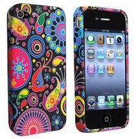 eForCity TPU Rubber Skin Case compatible with Apple® iPhone® 4 / 4S, Black / Colorful Fish and Circ