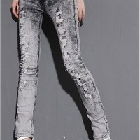 Fashionable and Slim Rhinestone Embellished Ripped Jeans China Wholesale - Sammydress.com