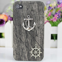 Silver Anchor Black Wood Grain  Hard Case Cover  by fashioncase