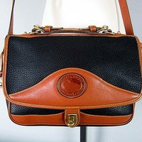 Vtg DOONEY &amp; BOURKE Black &amp; British Tan Leather CARRIER Messenger Satchel BAG