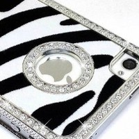 Amazon.com: LiViTech(TM) Cushion Quilted Designer Diamond Rhinestone Crystal Bling Case iPhone 4 4S (AT&T ,VERIZON,SPRINT) (Zebra Silver): Electronics