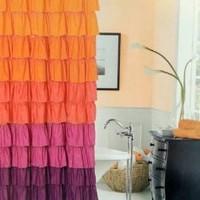 Amazon.com: Dainty Home Flamenco Tiered Fabric Shower Curtain, 72 by 72-Inch, Orange/Mahagony: Home & Kitchen