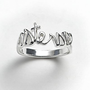 Silver Plate Sisters Script Ring