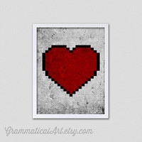 BoxingDaySale Decor 8 Bit Heart - Modern Love Geekery Print - Nerd Love - Video Game