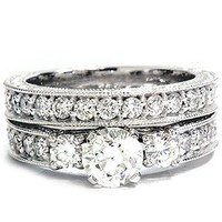 1.50CT Vintage Diamond Engagement Wedding Ring Set 14K: Jewelry: Amazon.com