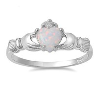 9MM 2ctw Sterling Silver OCTOBER WHITE OPAL BIRTHSTONE ROYAL IRISH Claddagh Ring 4-10 (8)
