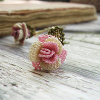 Antique lace hair pins shabby chic rose bobby pin, bridal hair pin accessory pale pink cream rose delicate unique boho country wedding TAGT