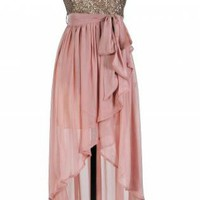 Pink Hi-Lo Strapless Dress with Gold Sequin Embellished Top