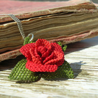 Antique lace hand embroidery pendant deep red rose pendant eternal love knot stitch heirloom jewelry sterling silver chain vintage styl TAGT
