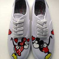 Size 7 IN STOCK - Hand Painted Mickey Mouse, Minnie Mouse &amp; Disney Inspired Shoes Womens Canvas Custom Keds Vans