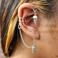 Silver Skull Ear Cuff Earring by EnamourEntirety on Etsy