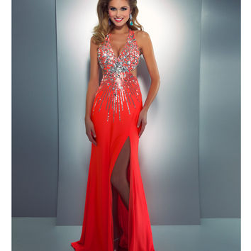 mac duggal prom 2013 neon orange halter from unique vintage