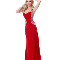 Luscious Lady Red Embellished Gown - Unique Vintage - Cocktail, Pinup, Holiday & Prom Dresses.