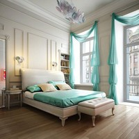 Bedroom Decoration, Elegance, Turquoise and Neutral Tones