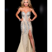 Jasz Couture 2013 Prom - Strapless Nude &amp; Silver Sexy Rhinestoned Gown - Unique Vintage - Cocktail, Pinup, Holiday &amp; Prom Dresses.