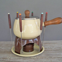 vintage fondue set 1980 porcelain enamel on by KatyBitsandPieces