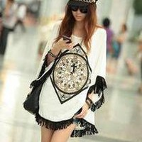 Korean design Fashion White Clock Pattern Bat-wing T-shirt mercerized cotton