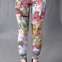 Kitty Garden Party Leggings. Made to order
