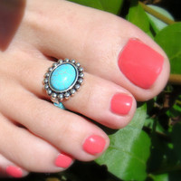 Toe Ring, Turquoise Stone Bead Toe Ring