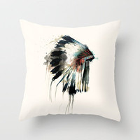 Headdress Throw Pillow by Amy Hamilton | Society6