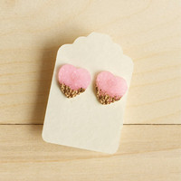 Faux Druzy Earrings Pink Ice Heart Post Stud Fake Resin Gold Painted