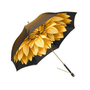 Ladies Umbrella in Gold with Gold Flower - Luxury Leather Wallets, Leather Handbags, Cufflinks - British Luxury Leather Goods from Aspinal of London