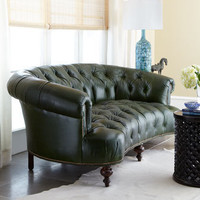 Old Hickory Tannery - Winter-Pine-Green Tufted Leather Sofa - Horchow