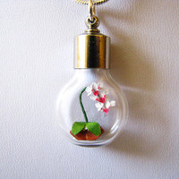 Miniature origami orchid necklace Origami Jewelry by PaperPeaches