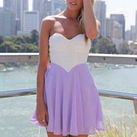 White&Purple Strapless Dress with Lace Bodice&Cutout Back