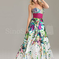 SinoSpecial.com — Colorful A-line Sweetheart Neckline Beadings Floor Length Satin Graduation Dress