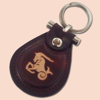 Capricorn zodiac leather metal T keychain