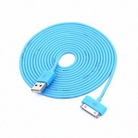 Colorful 30pin USB Data Sync and Charge Cable Compatible with Iphone 4/4s, Iphone 3g/3gs, Ipod (Blu