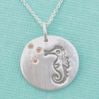 SILVER SEAHORSE necklace champagne bubbles by ChocolateAndSteel