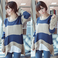 2012 New Korea Women Striped Loose Slim Long Bottoming Sweater