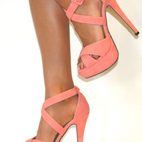 CORAL STRAPPY STILETTO HEELS PLATFORM SHOE SANDAL EVENING PROM